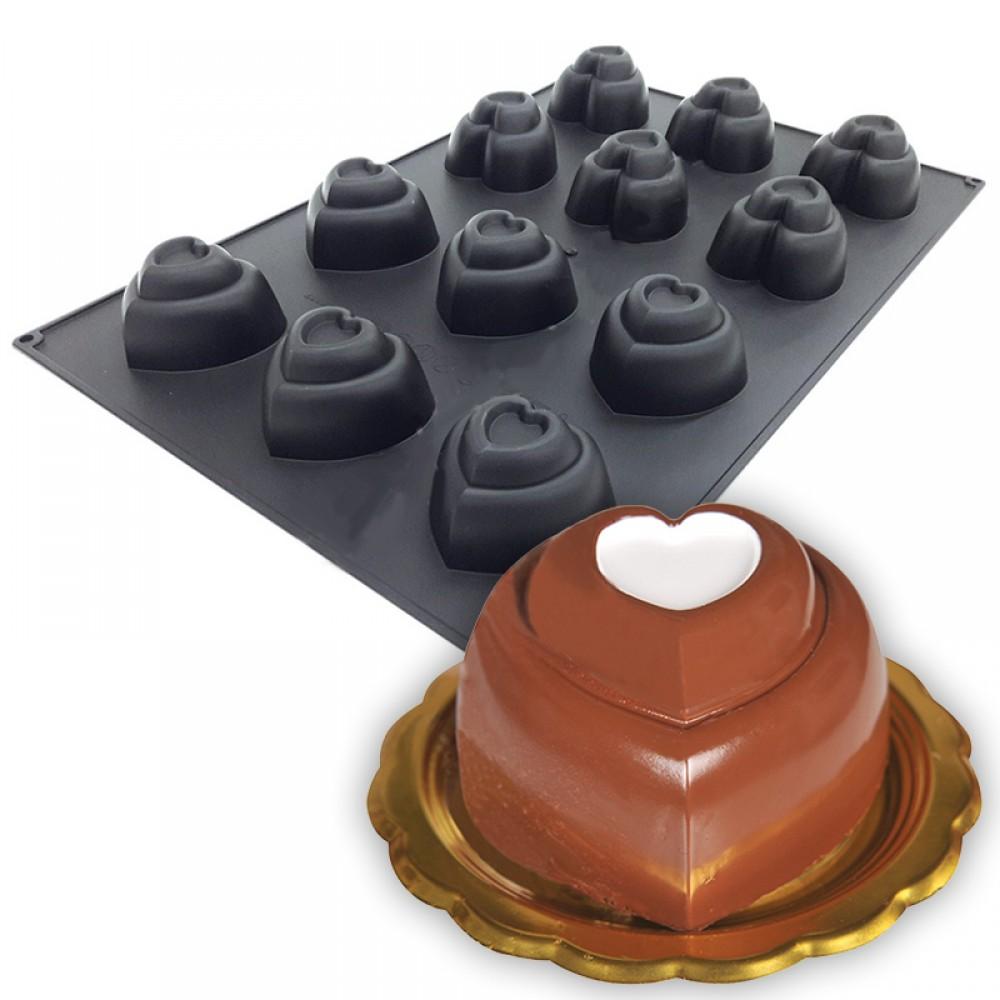 12 Li Profesyonel Silikon Katli Kalp Pasta Kek Kalibi