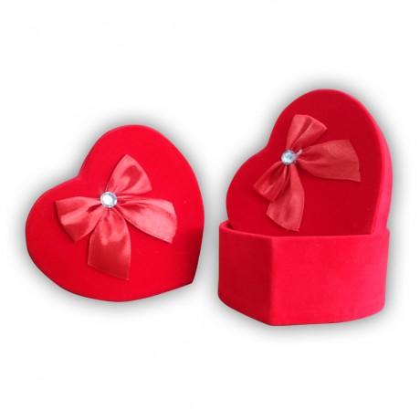 Kırmızı Flok Kalp Şekilli Kutu